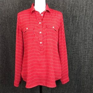 LOFT Red Geometric Utility Blouse sz Small